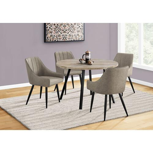 "DINING CHAIR - 2PCS / 33""H / TAUPE FABRIC / BLACK METAL"