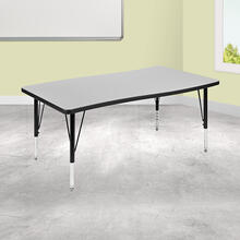 "28""W x 47.5""L Rectangular Wave Collaborative Grey Thermal Laminate Activity Table - Height Adjustable Short Legs"
