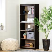 Axess - 5-Shelf Bookcase, Rubbed Black and Weathered Oak