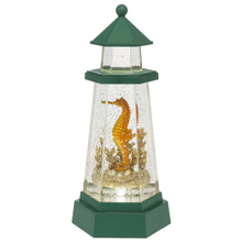 Lighted LED Shimmer Lighthouse with Seahorse
