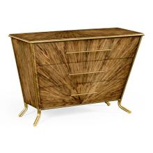 See Details - Argentinian walnut veneered tapering chest of drawers