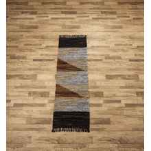 See Details - Geo Leather Chindi 2'x6 Rug (Each One Will Vary)