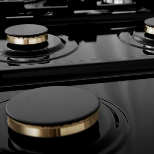 """Zline Kitchen and Bath - ZLINE Autograph Edition 30"""" Porcelain Rangetop with 4 Gas Burners in DuraSnow® Stainless Steel and Accents (RTSZ-30) [Color: Matte Black]"""