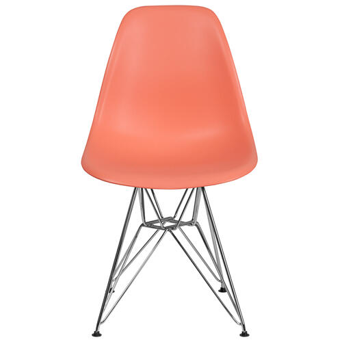 Elon Series Peach Plastic Chair with Chrome Base