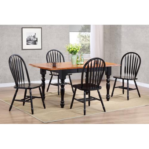 Product Image - Drop Leaf Extendable Dining Table - Antique Black with Cherry Finish Top