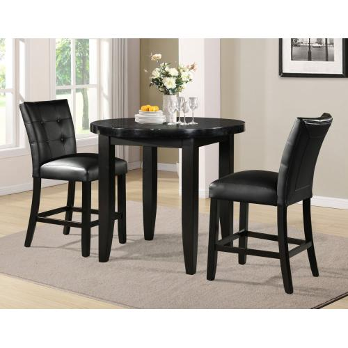 Gallery - Markina 3 Piece 40-inch Round Black Marble Top Counter Set(Counter Table & 2 Counter Chairs)