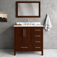 View Product - Walnut MALIBU 36-in Single-Basin Vanity with Carrara Stone Top