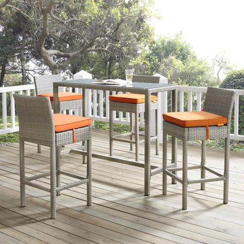 Conduit 5 Piece Outdoor Patio Wicker Rattan Set in Light Gray Orange