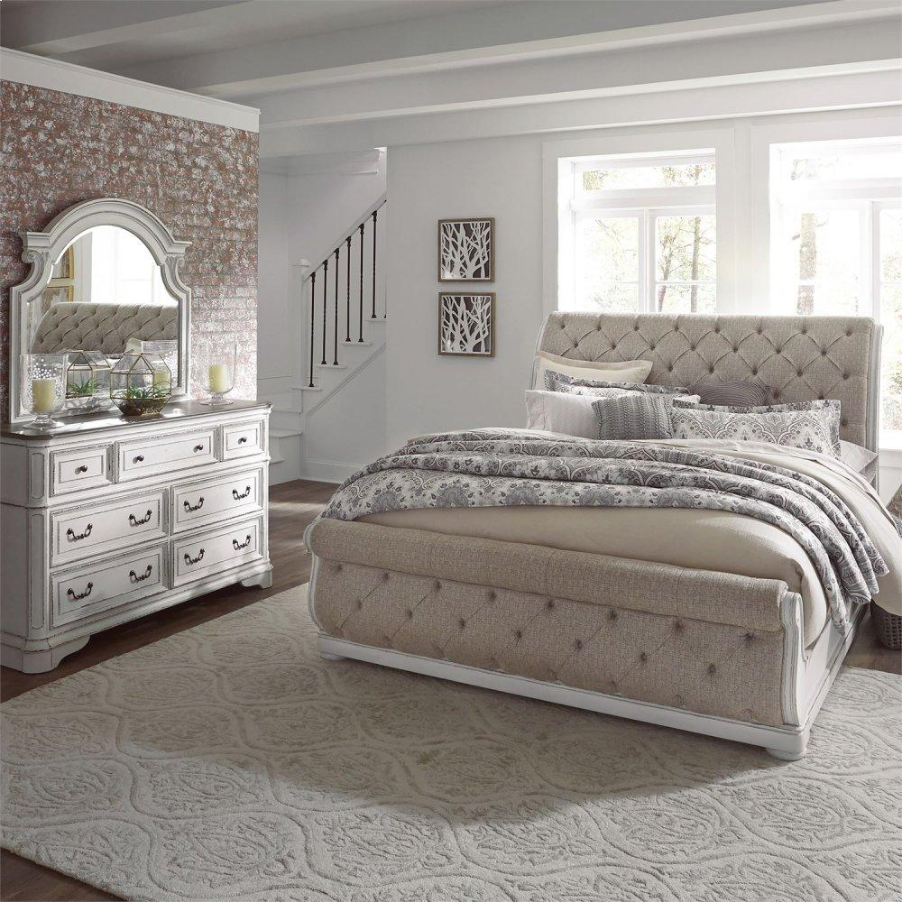 King California Upholstered Sleigh Bed, Dresser & Mirror