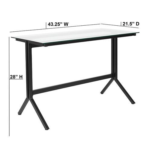 Flash Furniture - Highland Collection Glass Computer Desk with Black Metal Frame
