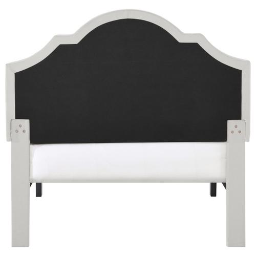 Accentrics Home - Nailhead Trim, Shaped Twin Upholstered Platform Bed in Natural Gray