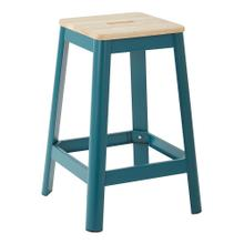 "Hammond 26"" Metal Barstool With Lightwood Seat and Frosted Teal Frame Finish"