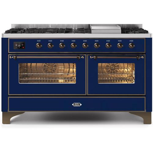 Product Image - Majestic II 60 Inch Dual Fuel Natural Gas Freestanding Range in Blue with Bronze Trim
