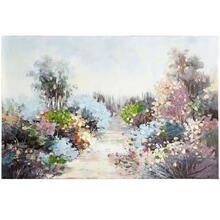 See Details - Pastel Wildflower Pathway Hand Painted Canvas  32in X 47in X 1in  Stretched Canvas