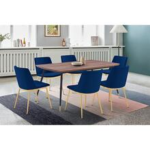 Messina Blue Velvet and Walnut 7 Piece Dining Set