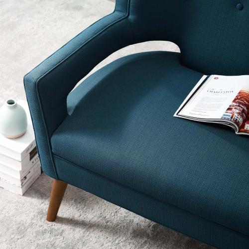 Sheer Upholstered Fabric Loveseat in Azure