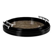 Circular tray in Black snakeskin eggshell inlay