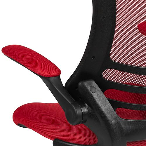 Gallery - Mid-Back Red Mesh Swivel Ergonomic Task Office Chair with Flip-Up Arms