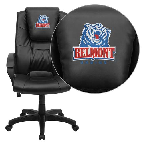 Belmont University Bruins Embroidered Black Leather Executive Office Chair