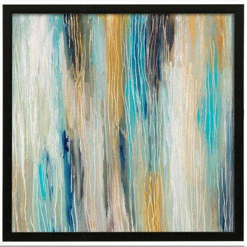Style Craft - Ocean Tones II  Made in USA  Artist Print  Faux Wood Frame Under Glass  Attached Hanging Hardwar