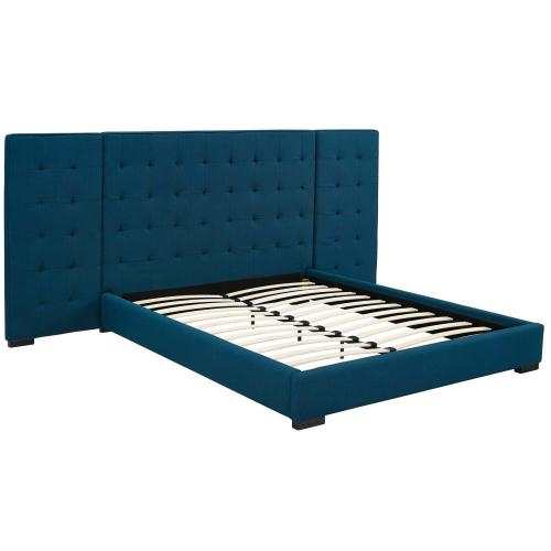 Sierra Queen Upholstered Fabric Platform Bed in Azure