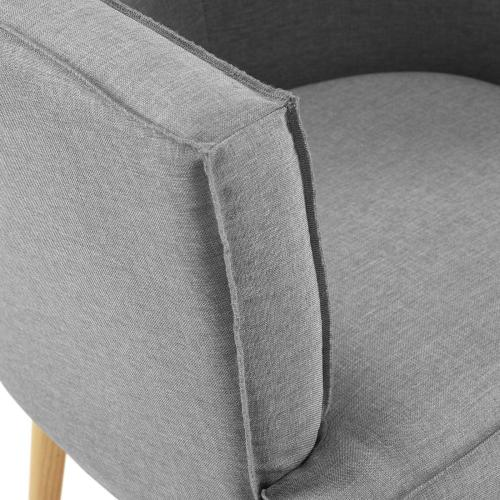 Anders Accent Chair Upholstered Fabric Set of 2 in Light Gray