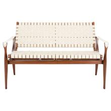 See Details - Dilan Leather Loveseat - White / Light Brown