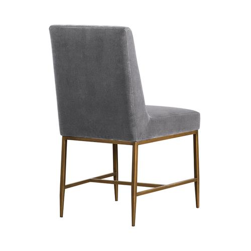 Memphis Grey Velvet and Antique Brass Accent Dining Chair- Set of 2