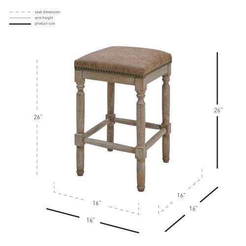 Ernie KD PU Counter Stool Drift wood Legs, Nubuck Chocolate