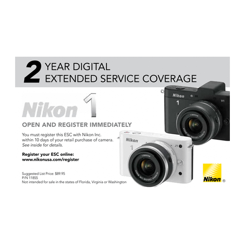 Extended Service Coverage (2 Years) for Nikon 1 cameras