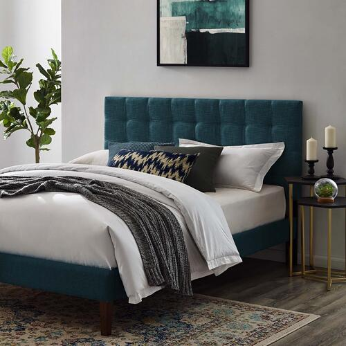 Modway - Paisley Tufted Full / Queen Upholstered Linen Fabric Headboard in Azure