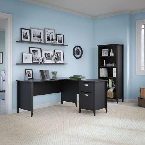 Connecticut 5 Shelf Bookcase - Black Suede Oak
