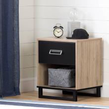 Industrial 1-Drawer Nightstand with Open Storage Space - Rustic Oak and Matte Black