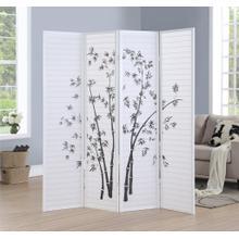 See Details - Bamboo Print 4-Panel White Framed Room Screen/Divider