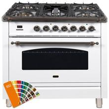 Nostalgie 36 Inch Dual Fuel Natural Gas Freestanding Range in Custom RAL Color with Bronze Trim