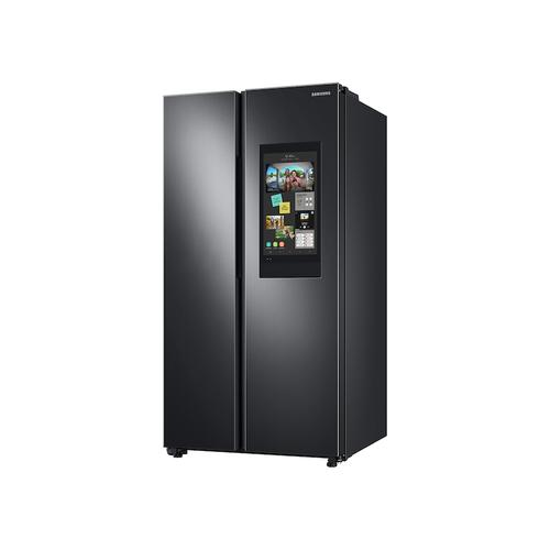 Samsung - 27.3 cu. ft. Smart Side-by-Side Refrigerator with Family Hub™ in Black Stainless Steel