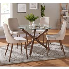 Rocca/Cora 5pc Dining Set, Walnut/Beige