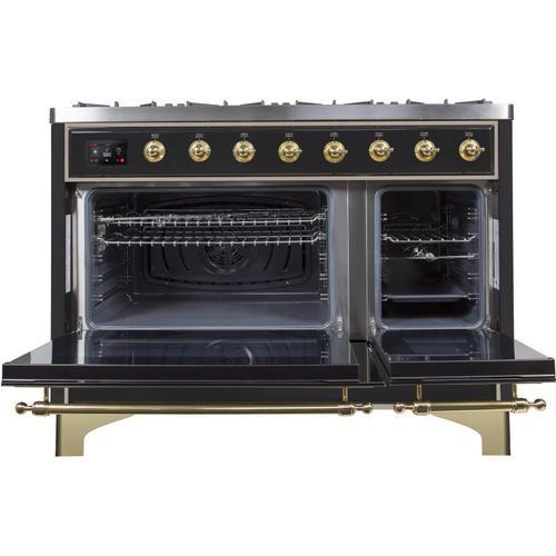 Ilve - Majestic II 48 Inch Dual Fuel Liquid Propane Freestanding Range in Glossy Black with Brass Trim