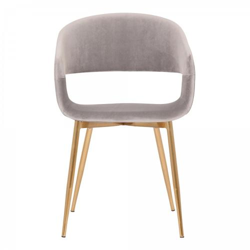 Armen Living - Jocelyn Mid-Century Grey Dining Accent Chair with Gold Metal Legs