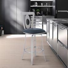 """View Product - Lola Contemporary 30"""" Bar Height Barstool in Brushed Stainless Steel Finish and Grey Faux Leather"""