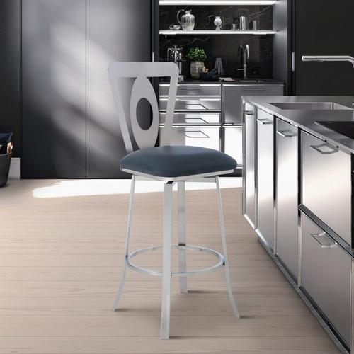 "Lola Contemporary 30"" Bar Height Barstool in Brushed Stainless Steel Finish and Grey Faux Leather"