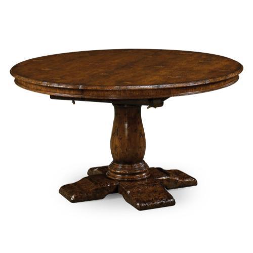 "60"" Extending dark oak country table"