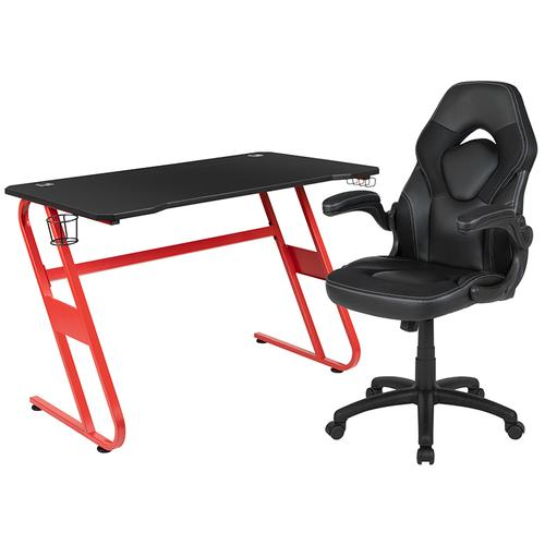 Gallery - Red Gaming Desk and Black Racing Chair Set with Cup Holder and Headphone Hook