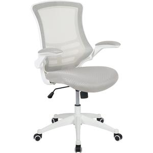 Gallery - Mid-Back Light Gray Mesh Swivel Ergonomic Task Office Chair with White Frame and Flip-Up Arms