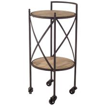 Vino Metal Frame Two-Tier w/wood shelves Round Bar Cart