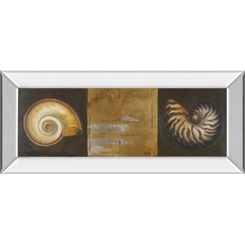 """Classy Art - """"Seashells I"""" By Patricia Pinto Mirror Framed Print Wall Art"""