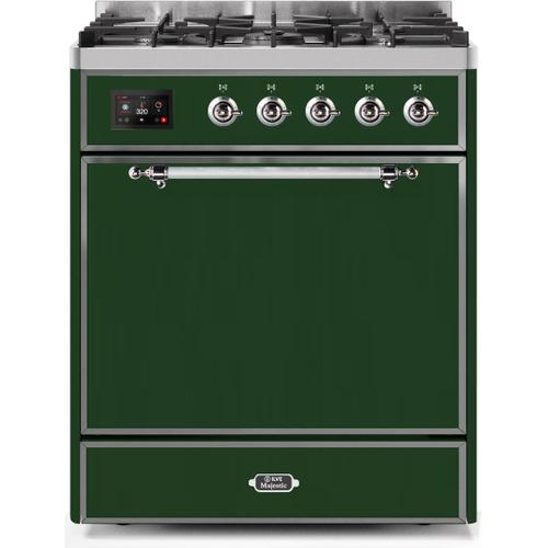 Ilve - Majestic II 30 Inch Dual Fuel Natural Gas Freestanding Range in Emerald Green with Chrome Trim