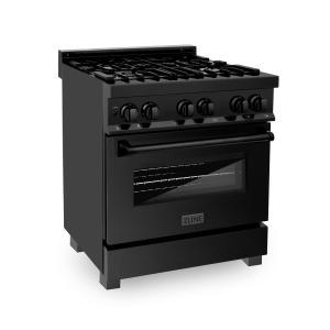 """Zline KitchenZLINE 30"""" Black Stainless 4.0 cu.ft. 4 Gas Burner/Electric Oven Range (RAB-30)"""