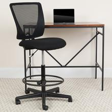 View Product - Ergonomic Mid-Back Mesh Drafting Chair with Black Fabric Seat and Adjustable Foot Ring