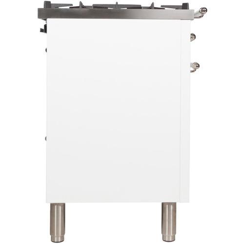 Nostalgie 48 Inch Dual Fuel Liquid Propane Freestanding Range in White with Chrome Trim